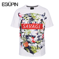 ESIUPIN Summer T shirt Men Europe America Fashion 3d T-shirts Brand Tops Tees Shirts Print Flowers Leaves Savage Tiger Tshirt