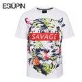 ESIUPIN T shirt Homens Verão Europa América Moda 3d Camisetas Marca Tops Tees Camisas de Impressão Das Folhas Das Flores Selvagens Do Tigre Tshirt