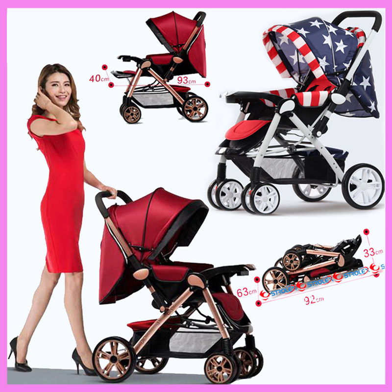 Newborn Baby Stroller 3 In 1 High Landscape Folding Car Seat Travel Reverse Handle Portable Lightweight Pram Pushchair Buggy stroller car seat newborn pram 3 wheels baby stroller 3 in 1 prams pushchair pram stroller travel system free shipping