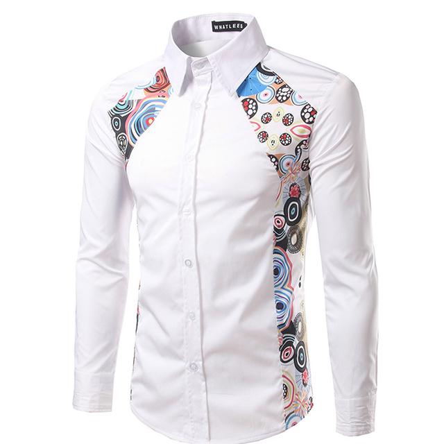 Moda Negro Blanco Estilo de La Moda Étnica Hombres de Impresión de Manga Larga Da Vuelta-abajo Camisa de Cuello Nuevo Camisas de Esmoquin de Hombre Formal blusas Sep21