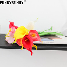 FUNNYBUNNY 5PCS Calla Lily Bridal Wedding Bouquet Home Garden Decor Artificial Flowers Party decoration