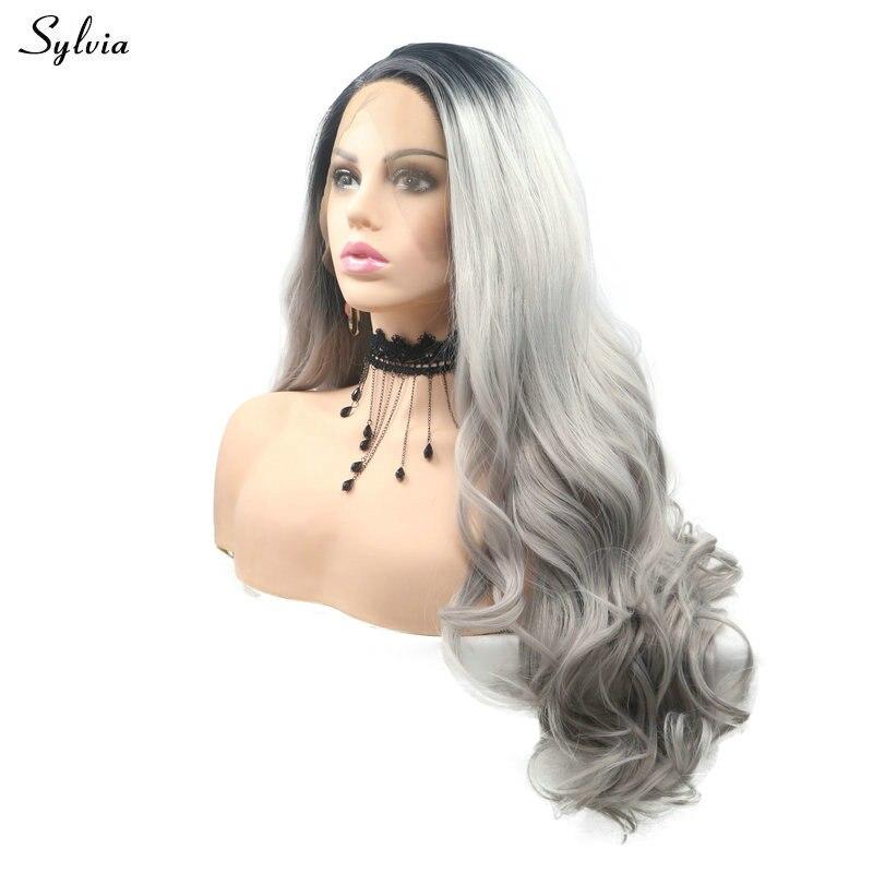 Sylvia Long corps vague cheveux court noir racine Ombre gris clair/gris synthétique dentelle avant perruques pour les femmes partie résistant à la chaleur Fiber