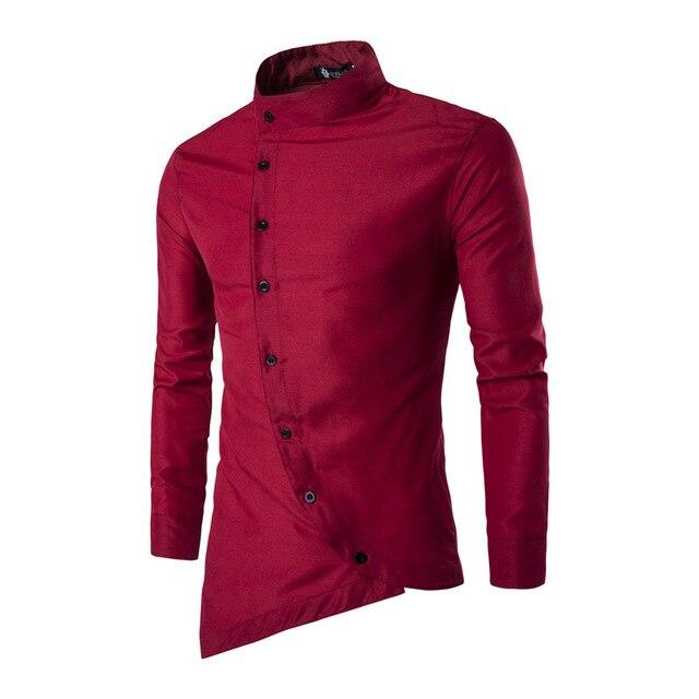 2018 Новая модная мужская рубашка личность Косой Кнопка нерегулярные Мужская Повседневная рубашка с длинным рукавом Slim Fit Марка мужской рубашки
