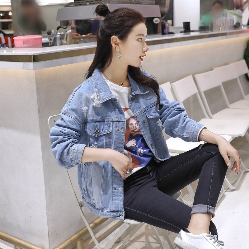 2019 Fashion Arrival Women Denim   Jackets   Vintage Casual BF Ripped Holes Coat Female Jean Outerwear Women   Basic     Jacket   Coats
