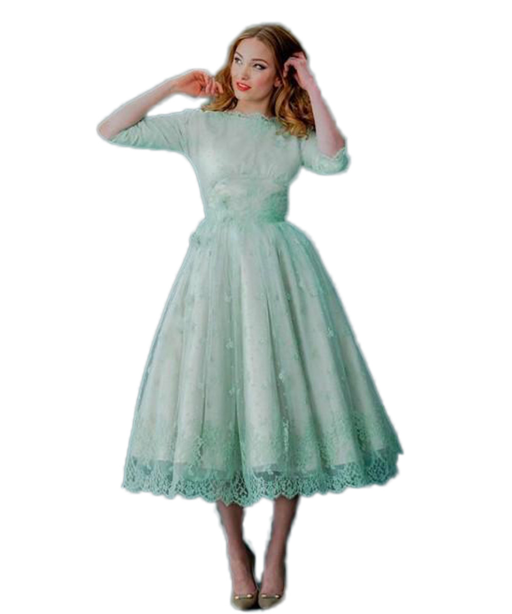 Online get cheap vintage tea length mint green dress aliexpress 2016 vintage lace dresses neck mint green tea length spring plus size backless wedding dresses with ombrellifo Choice Image