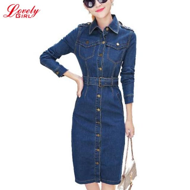48ea8fd459d4 Denim Dress 2018 Spring New Fashion Long Sleeve Bodycon Ladies Jeans Dresses  Free Belt Denim Clothing Women Vintage Jean Dress