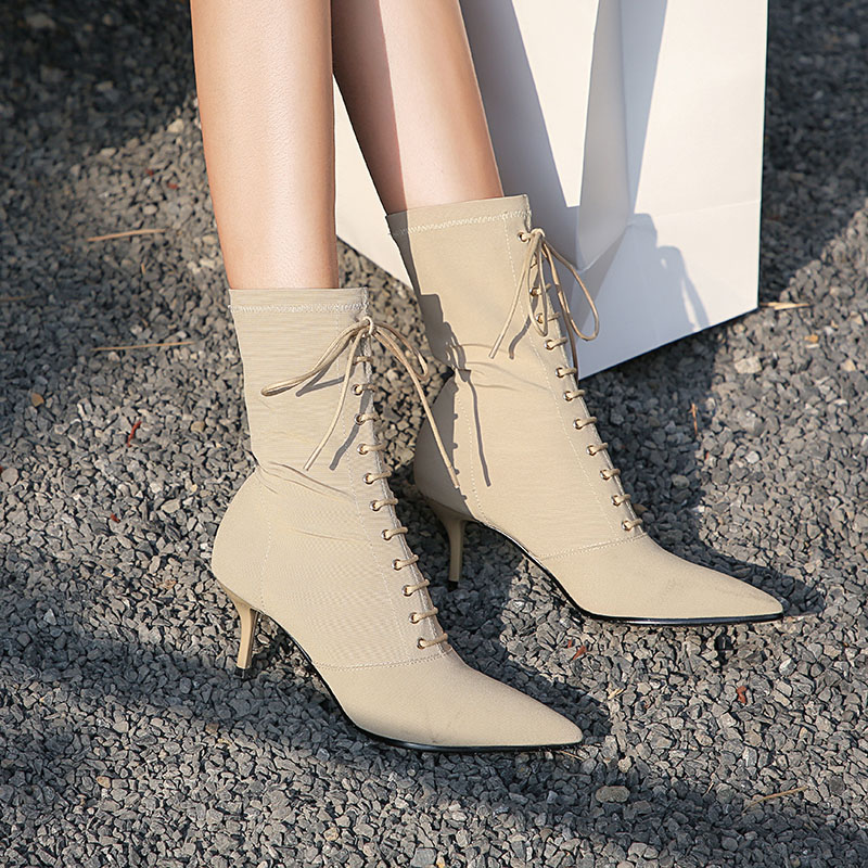 Autumn Winter Stretch Fabric Lace Up Boots Pointed Toe High Heel Boots Sexy Ankle Boots For Woman Socks Women Boots in Ankle Boots from Shoes