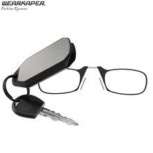 Wearkaper Портативный зажим для носа брелок Очки для чтения 1.0-3.0 женские и мужские очков Ultra Light Auto брелоки Чтение Стекло коробка