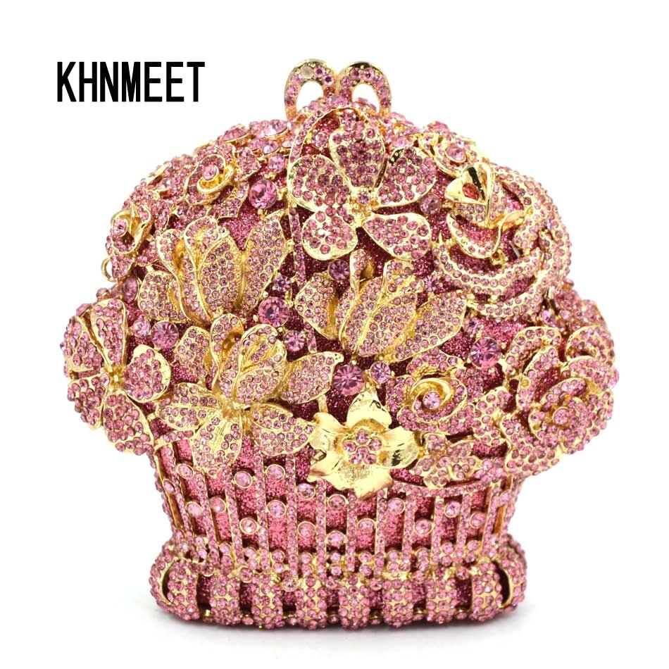 Luxury Designer Pink Flower Rhinestone Clutch Crystal Party Wedding Handbags Gold Silver Diamond Women s Clutch