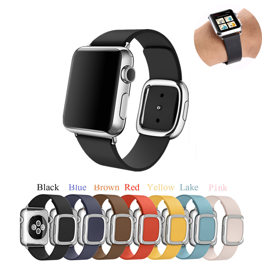 Modern Buckle Leather Watchband Strap for apple watch band 42mm 38mm Genuine Leather bracelet strap for iwatch 3/2/1 notice size цена и фото