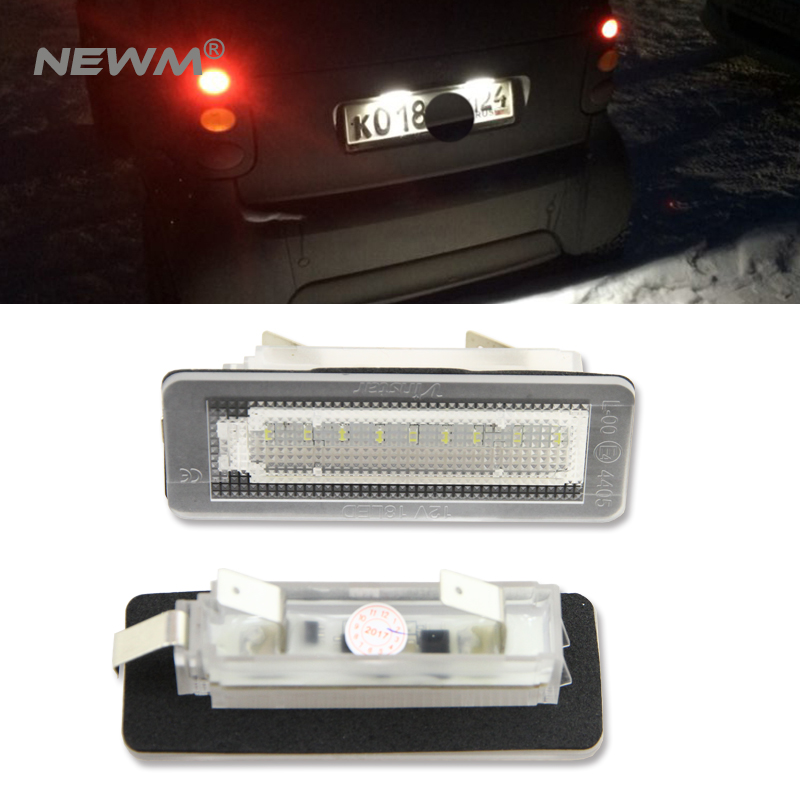 2Pcs 18SMD LED License Plate Number Light Lamp Error Free For Benz Smart Fortwo Coupe 450 2 pcs 18 led smd no error license plate light for benz w203 w211 w219 r171 new t518
