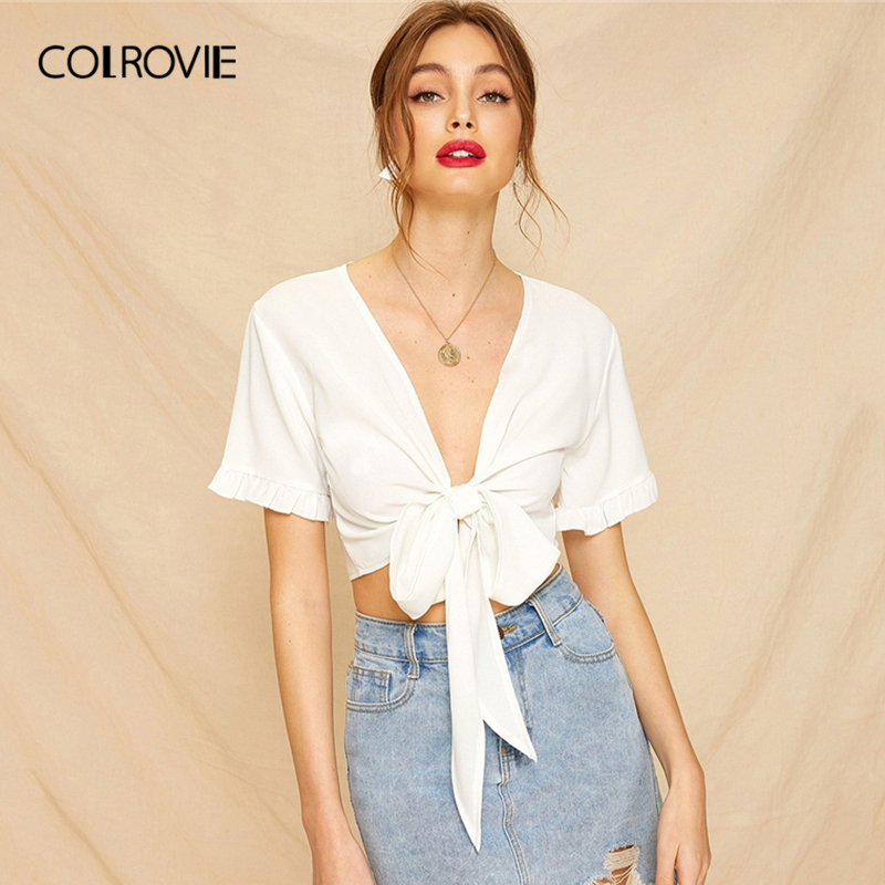 COLROVIE White Solid Knot Front Frill Cuff Crop   Blouse     Shirt   Women 2019 Sexy Summer Deep V Neck Clothing Ladies Tops And   Blouses