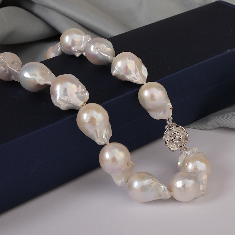 цена на [YS] 12-13mm High Quality White Baroque Irregular Freshwater Pearl Necklace Jewelry