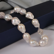 [YS] 12-13mm High Quality White Baroque Irregular Freshwater Pearl Necklace Jewelry