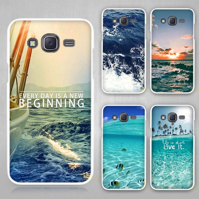 sea ocean Hard White Plastic Case Cover for Samsung Galaxy J1 J2 J3 J5 J7 C5 C7 E5 E7 2016 2017 Emerge