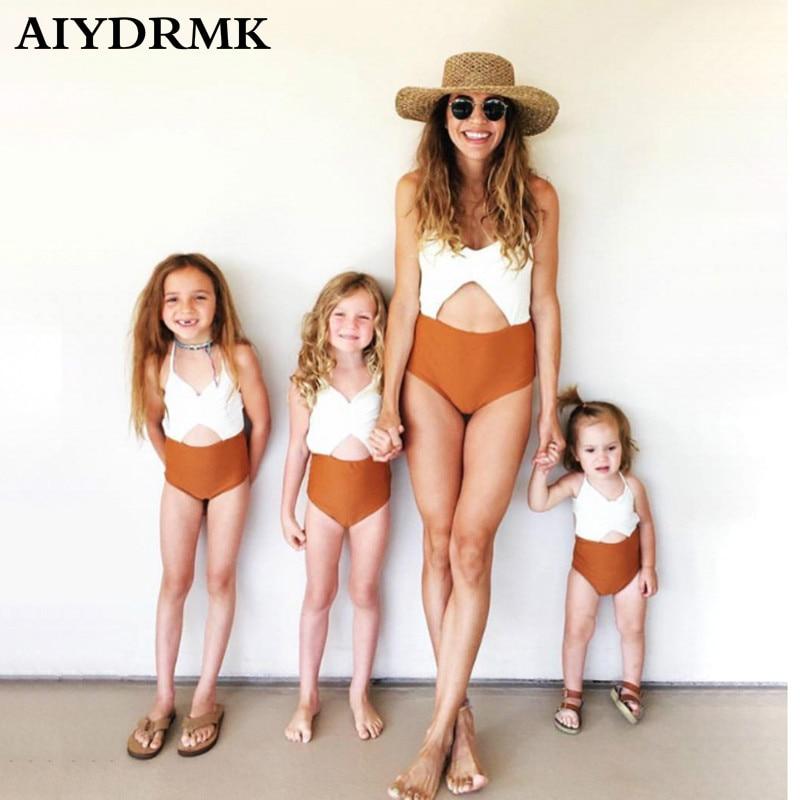 Familie Passenden Bademode Familie Aussehen Frauen Mädchen Bikini Badeanzüge Mama und Mich Kleidung Outfits Mom und Tochter Passende Kleidung
