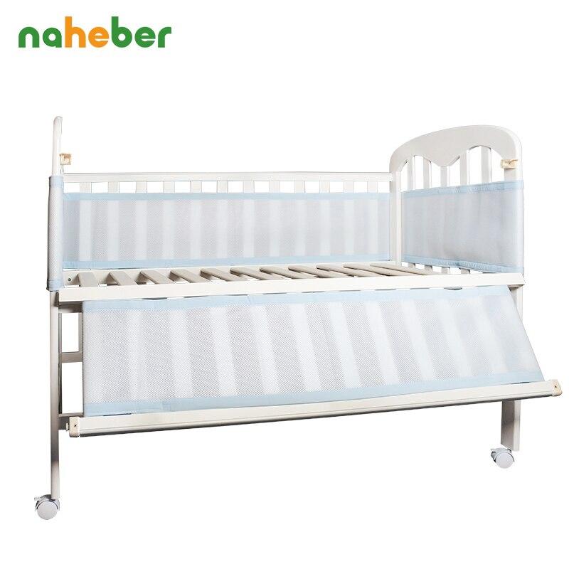 Discreet Baby Bed Bumper Ademend 3 Lagen Mesh Wieg Protector Baby Beddengoed Set Croth Om De Cot 2 Stks Lot Fit Voor Alle Size Crib Ronde