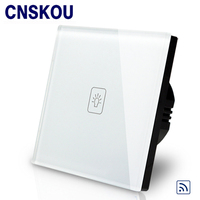 EU Standard Remote Switch With LED Crystal Glass Panel 220 250V Wall Light Wireless Remote Touch
