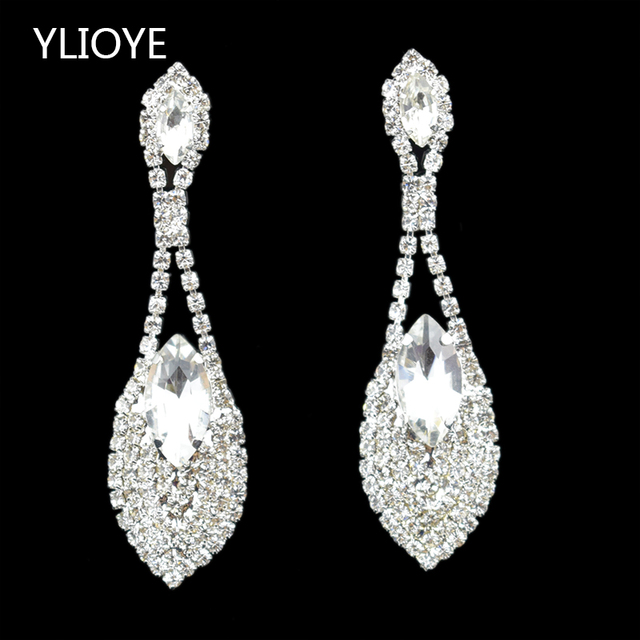 New Fashion Crystal Earrings red/white Rhinestone luxurious long Drop Earrings For Woman Girl Gifts wedding Jewelry Wholesale