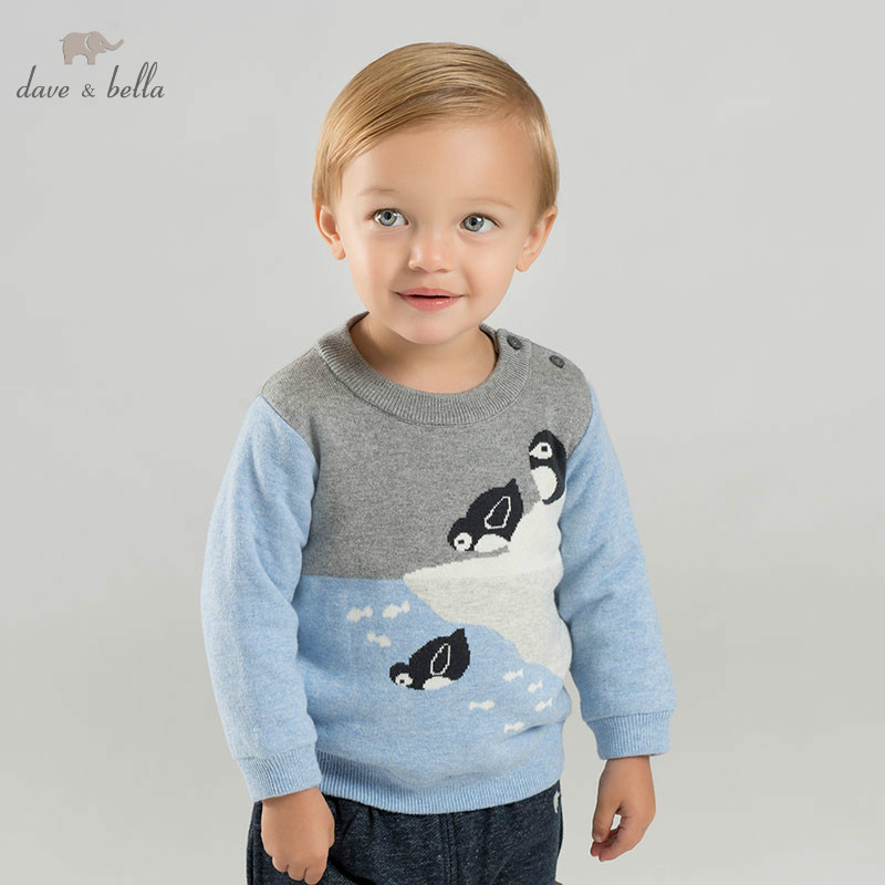 все цены на DBJ9004 dave bella baby boys penguin sweater children knitted sweater kids autumn pullover toddler boutique tops