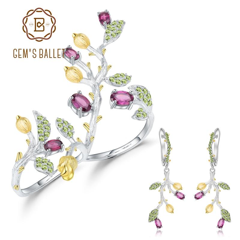 GEM'S balet naturalne Rhodolite granat pierścień kolczyki zestawy biżuterii 925 srebro ręcznie komunikat zestaw biżuterii dla kobiet w Zestawy biżuterii od Biżuteria i akcesoria na  Grupa 1