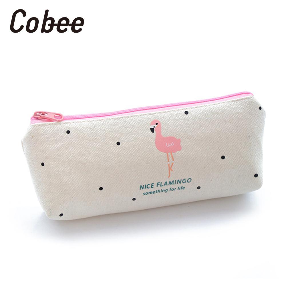 Cobee Kawaii Pencil Case cute Flamingo canvas pencil Bag Stationery Bags Organizer Cosmetic key Bag Purse For Students Supplies in Pencil Bags from Office School Supplies
