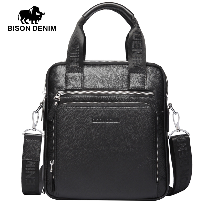 BISON DENIM fashion men bag genuine leather handbags shoulder bags business male brand handbag messenger bag цена