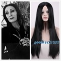 New arrival! free shipping Morticia Addams Adams Family cosplay wig long black straight full wigs+a wig cap