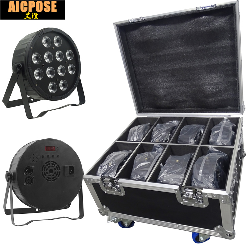 8pcs 12x12W led Par lights RGBW 4in1 12*12w flat par led dmx512 disco lights professional stage dj equipment with flight case цена