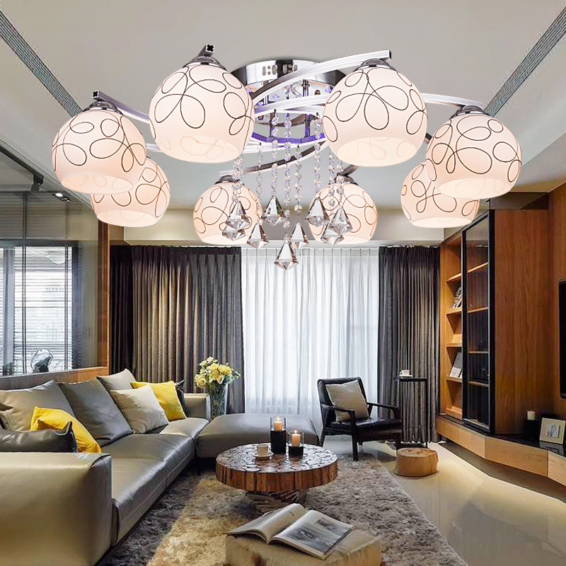 Indoor LED Ceiling Light for restaurant hall decoration modern crystal pendents lamp lustres de sala glass lampshade indoor lampIndoor LED Ceiling Light for restaurant hall decoration modern crystal pendents lamp lustres de sala glass lampshade indoor lamp