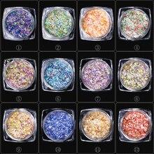 12boxes/set Summer Mixed Colors Irregular Thin Snow Flower 3D Nail Art Decor Sequin DIY Sea Nail Glitter Styles Charm Flake