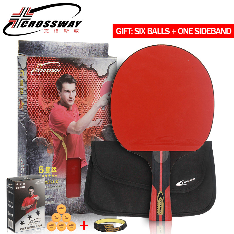 CROSSWAY Professional Table Tennis Racket 6 Star Single Racket with High Quality Bag Racquet Sports Ping Pong Paddle Rubber Bats boer table tennis 1 star ping pong racket paddle