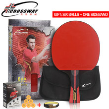CROSSWAY Professional Table Tennis Racket 6 Star Single Racket with High Quality Bag Racquet Sports Ping Pong Paddle Rubber Bats(China)