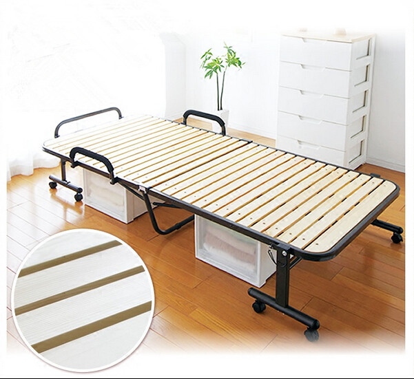 Japanese Tatami Metal Folding Bed Frame With Caters Bedroom Furniture Foldable Platform Bed Frame Wooden Slatted Bed Design gis