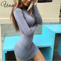 UANLOE 2016 Brand Winter Women Dress Little Black White Short Party Robe Sexy Bodycon Long Sleeve