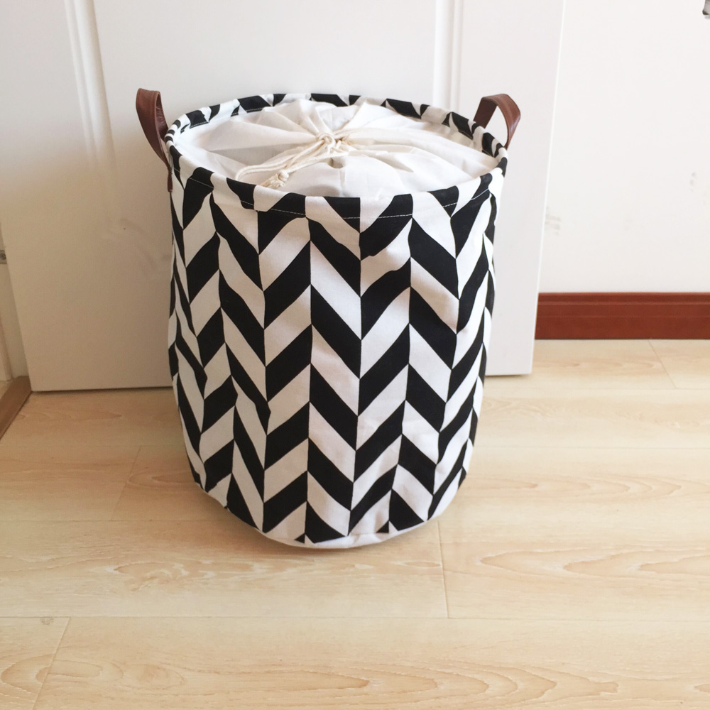 Fashion Design Canvas Laundry Basket With Pu Handles