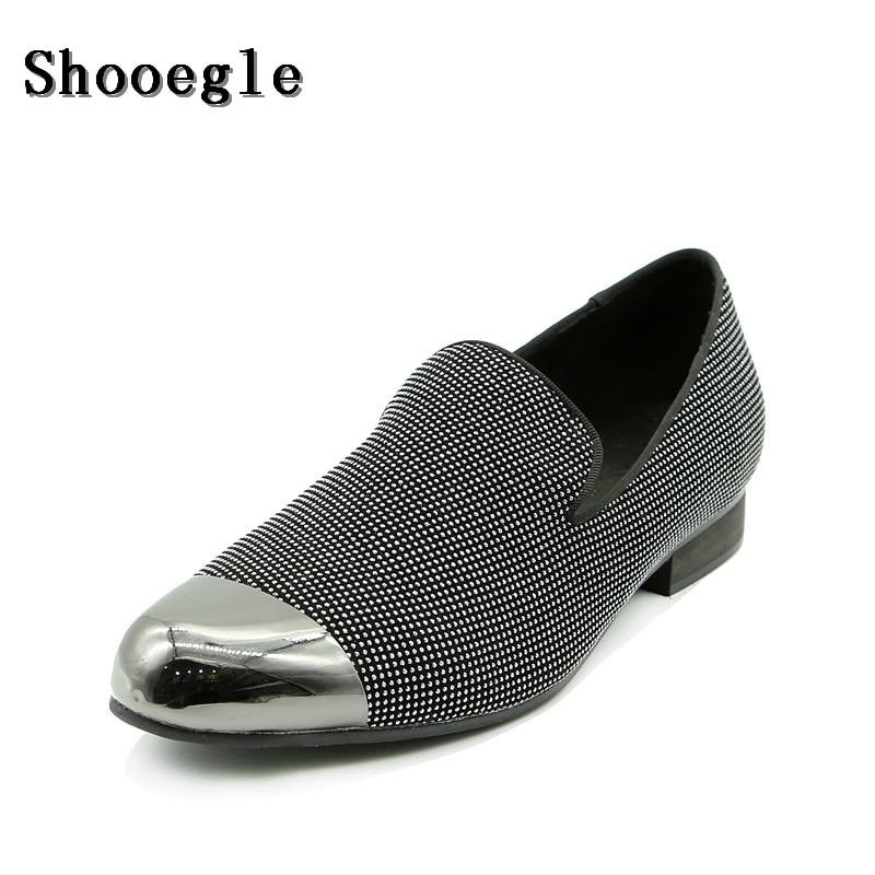 Shooegle Zehe Schwarzes Pantoffel Metall Breathable Schuhe Slip Mann On Männer Nachtclub Casual Außenhandel Benutzerdefinierte Bühne 8Af68xrwq