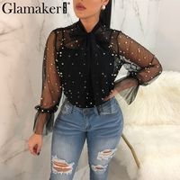 Glamaker Sexy Transparent Mesh Blouses Shirts Elegant Pearl Lace Up Blouse Women Tops Summer Casual Two