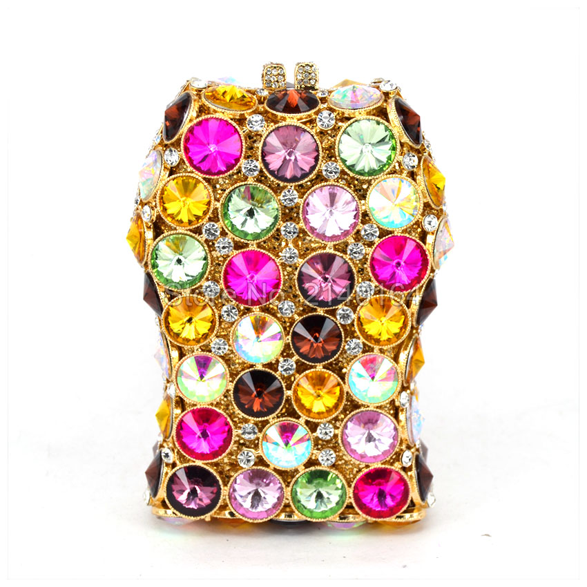Luxury multicolor Diamond Evening Bag Women Fashion Handbag Top Quality Wedding Party Bridal Clutch Purse Chain Shoulder Bag 522