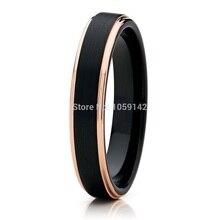 4 мм женские черные карбида вольфрама обручальное обещал кольцо для девочки с розовым золотом цвете края свободный крой матовый