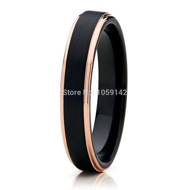 4MM Womens Black Tungsten Carbide Wedding Band Promised Ring For Girl With Rose Gold Color Edges