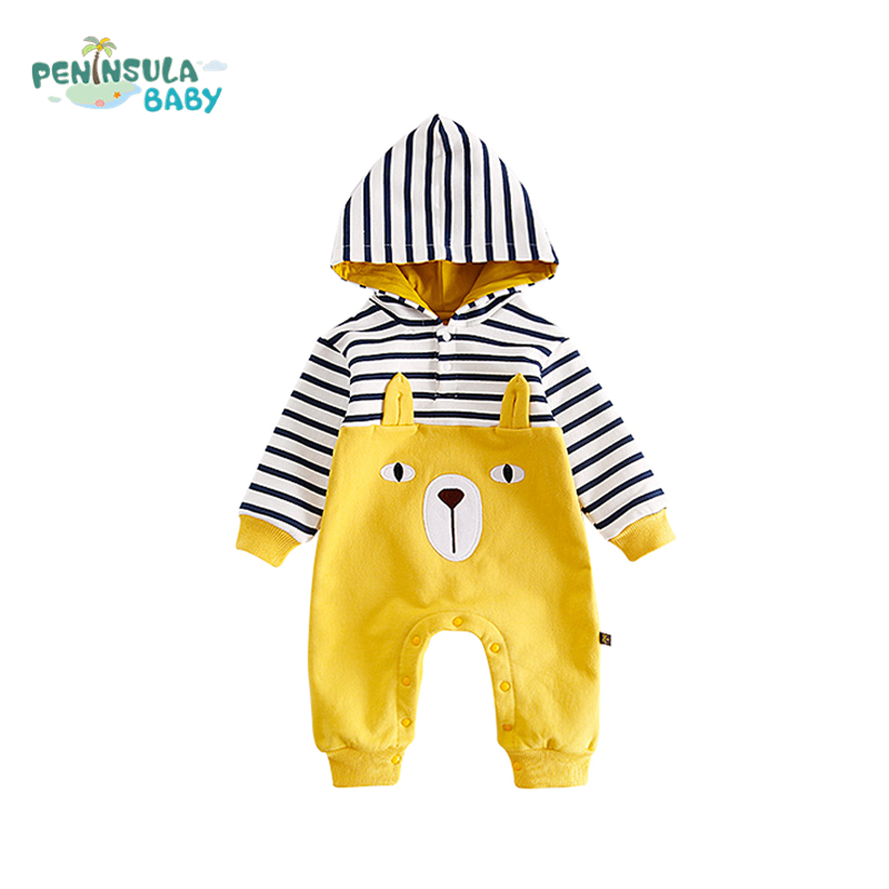 Newborn Baby Climbing Clothes Cartoon Bear Rompers Boys Girls Hooded Cotton Jumpsuit Long Sleeves Striped Children's Clothing cartoon baby boys girls clothes long sleeve baby rompers newborn cotton baby clothing jumpsuit infant clothing