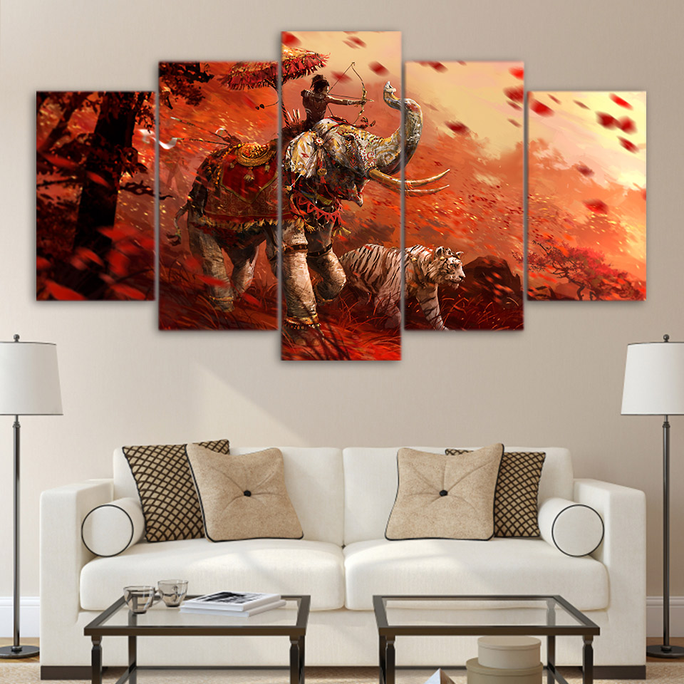 Canvas Home Decor Wall Art Pictures 5 Pieces Far Cry 4 Forest Painting Living Room HD Printed Game Elephant Tiger Poster image