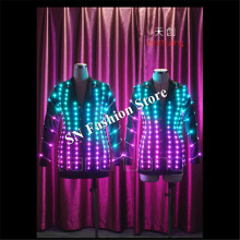 TC-101 Led luminous mens led jacket performance party clothes ballroom programmable dance costumes led colorful light satge suit
