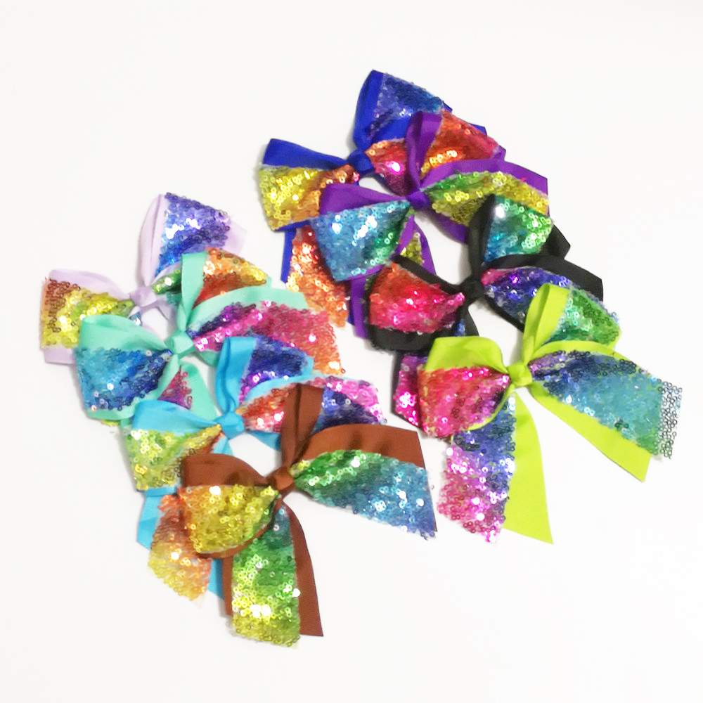 "100Pcs/lot 4.3"" Rainbow Sequin Bow With Clip Handmade Ribbon Boutique Bling Bows Barrettes Hairgrips Hair Accessories for Girls"