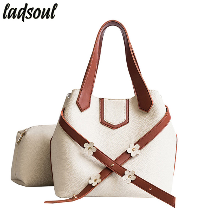 LADSOUL New Women Handbags Women Bag Leather S Flowers Designer Shoulder Bags Fashion Women Bags Lady Messenger Bags A2339/g