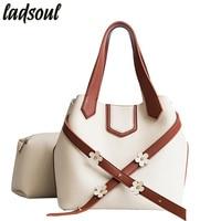 LADSOUL New Women Handbags Women Bag Leather S Flowers Designer Shoulder Bags Fashion Women Bags Lady