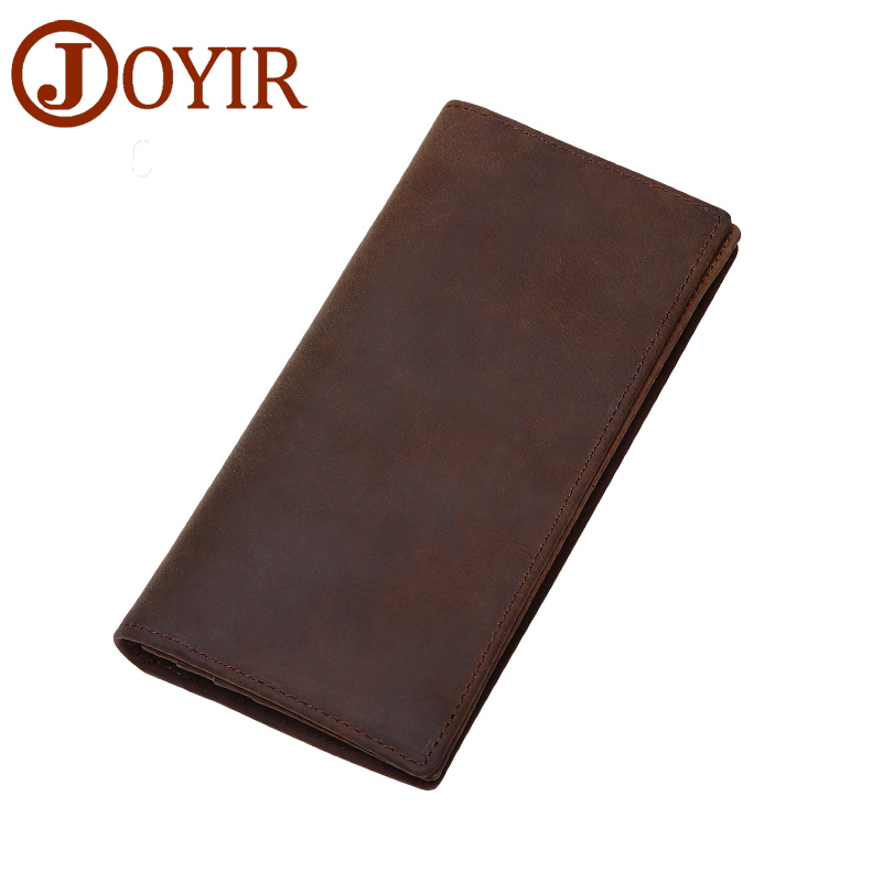 JOYIR Vintage Crazy Horse Leather Men Wallet Thin Purse Money Holder Card Holder Solid Purse Long Wallet for Male Man Wallet2008 men wallet male cowhide genuine leather purse money clutch card holder coin short crazy horse photo fashion 2017 male wallets