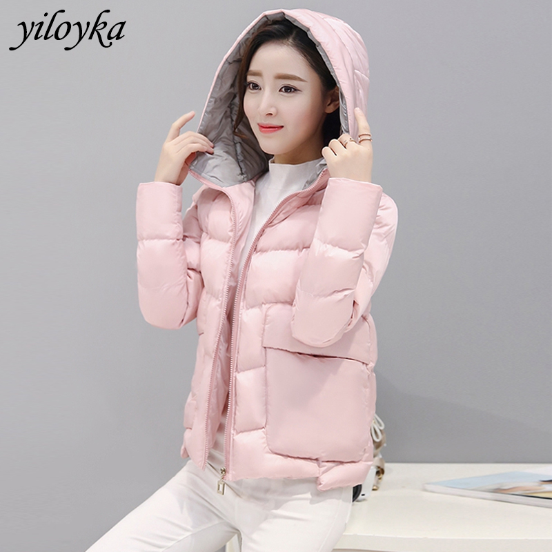 Big Pocket   Parkas   Mujer 2019 Winter Coat Thick Warm Hooded Short Down   Parka   Women Autumn Jacket Cotton Padded Outwear Jackets