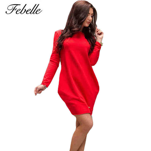70581bfd3720 Febelle Casual Loose O Neck Dress Autumn Winter Long Sleeve Sexy Women  Party Solid Mini Dress Red Black Grey  95989